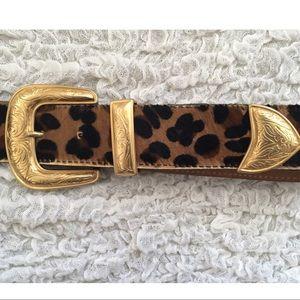 calf hair & leather leopard western belt